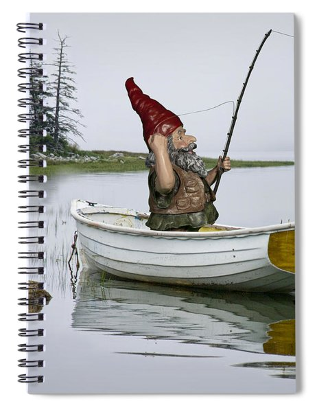 Gnome Fisherman In A White Maine Boat On A Foggy Morning Spiral Notebook