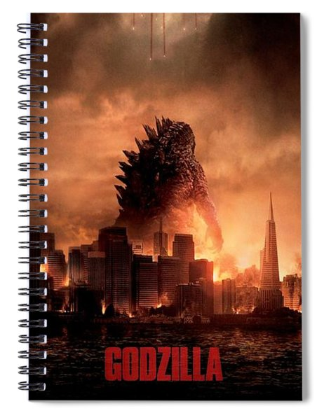 Spiral Notebook featuring the digital art Godzilla 2014 by Movie Poster Prints