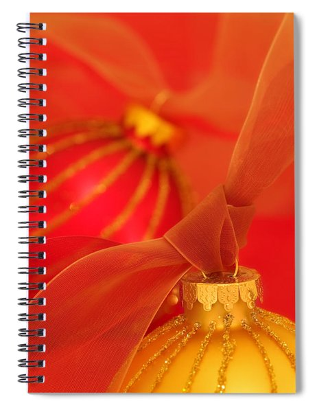 Gold And Red Ornaments With Ribbons Spiral Notebook
