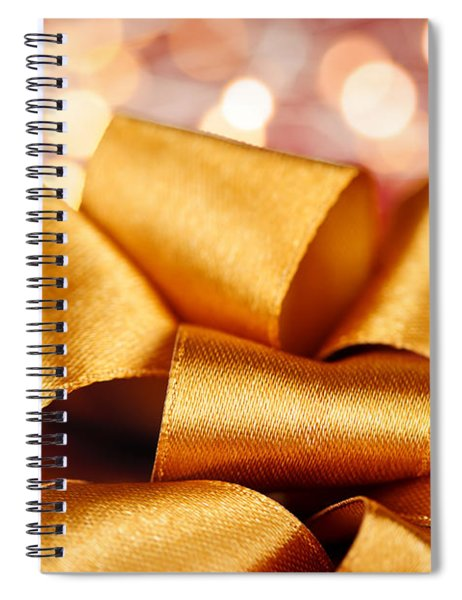 Gold Gift Bow With Festive Lights Spiral Notebook