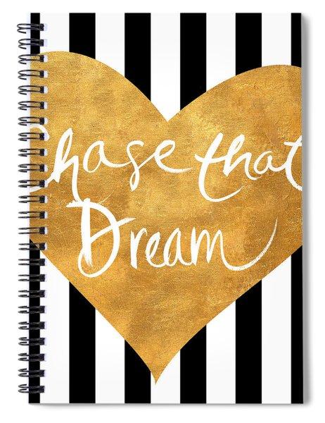 Gold Heart On Stripes II Spiral Notebook