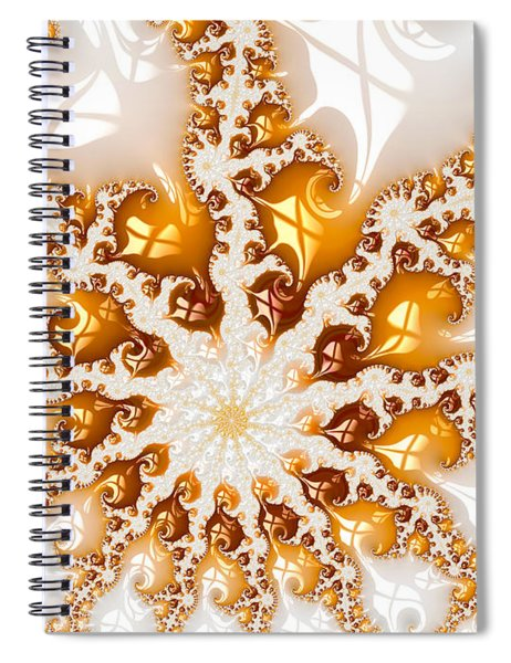 Golden Brown And White Luxe Abstract Art Spiral Notebook