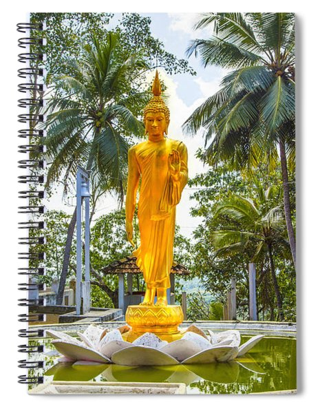 Golden Buddha On A Temple Flower Spiral Notebook