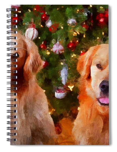 Golden Christmas Spiral Notebook