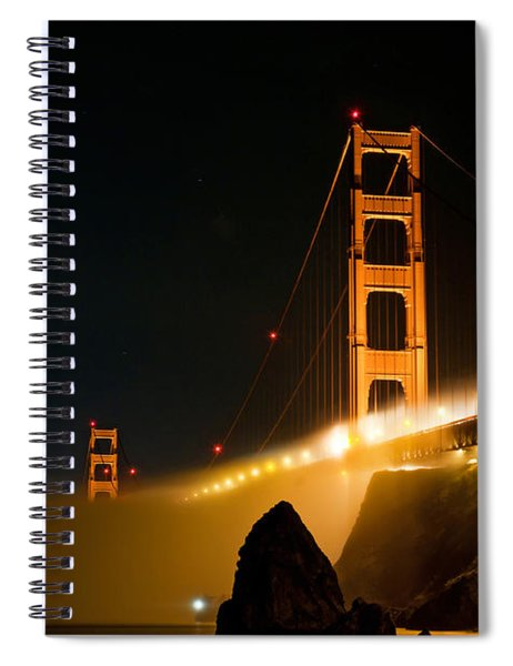 Golden Gate Bridge At Night In The Fog Spiral Notebook