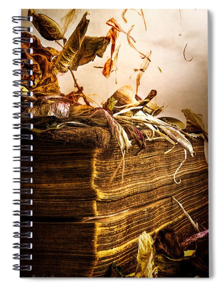Golden Pages Falling Flowers Spiral Notebook