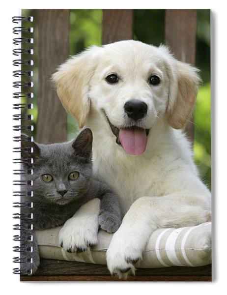 Golden Retriever And Kitten Spiral Notebook