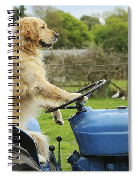 Golden Retriever On Tractor Spiral Notebook