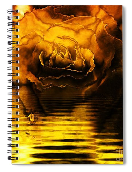 Golden Rose On The Lake Spiral Notebook