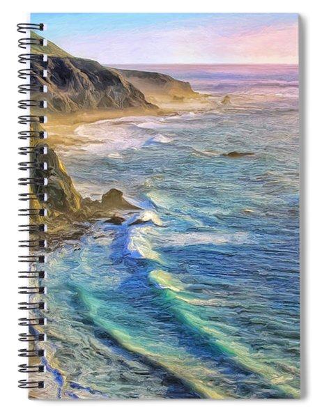 Golden Sunset At Big Sur Spiral Notebook