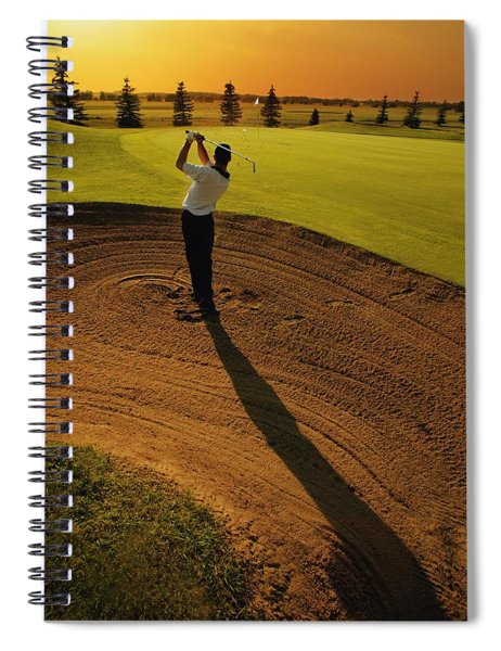 Golfer Taking A Swing From A Golf Bunker Spiral Notebook