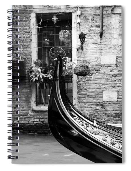 Spiral Notebook featuring the photograph Gondola In Venice Bw by Mel Steinhauer