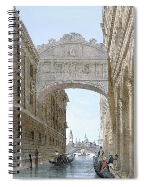 Gondolas Passing Under The Bridge Of Sighs Spiral Notebook
