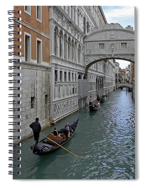 Gondolas Under Bridge Of Sighs Spiral Notebook