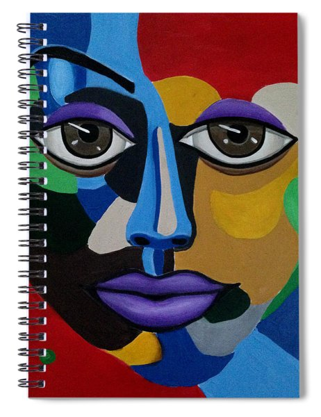 Colorful Illusion Abstract Face Art Painting, Big Brown Eye Art, Optical Artwork Spiral Notebook
