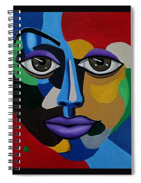 Colorful Abstract Face Art Painting, 3d Illusion, Big Brown Eyes, Purple Lips Spiral Notebook