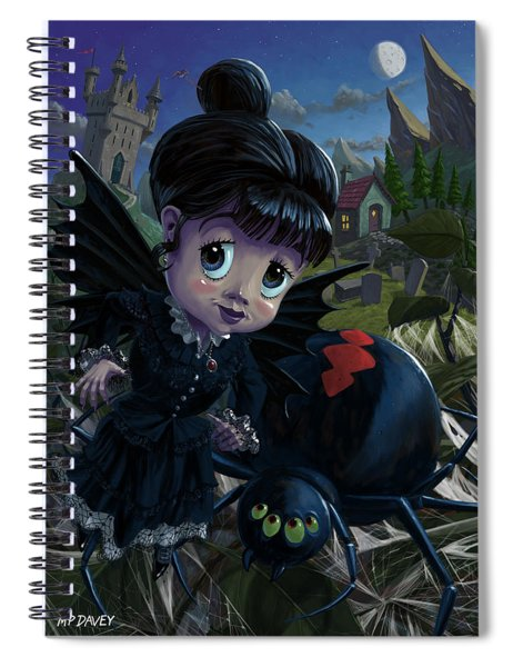 Spiral Notebook featuring the digital art Goth Girl Fairy With Spider Widow by Martin Davey