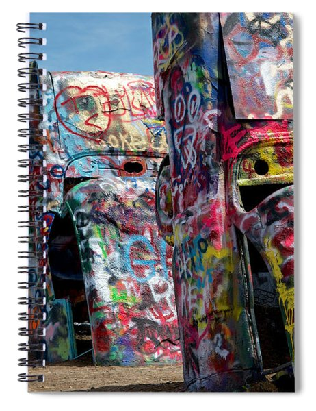 Graffiti At The Cadillac Ranch Amarillo Texas Spiral Notebook