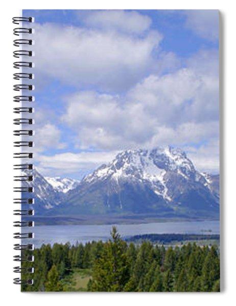 Grand Tetons Over Jackson Lake Panorama 2 Spiral Notebook