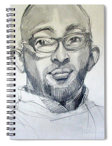 Graphite Portrait Sketch Of A Young Man With Glasses Spiral Notebook