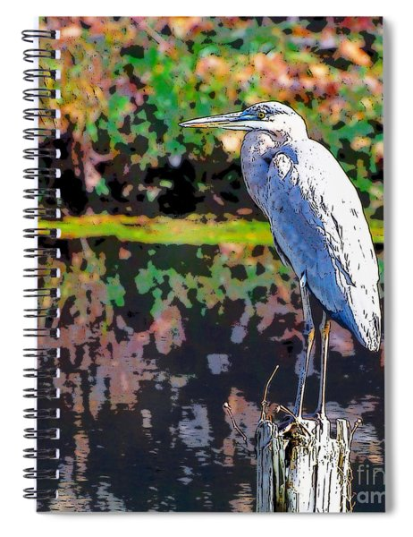 Great Blue Heron At The Pond Spiral Notebook
