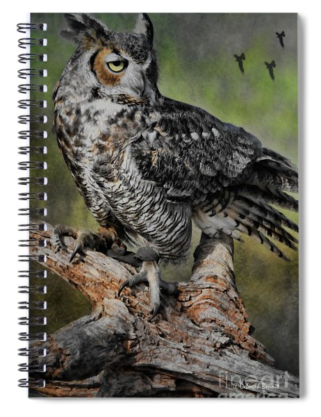 Great Horned Owl On Branch Spiral Notebook