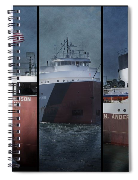 Great Lakes Freighter Triptych Arthur M Anderson Spiral Notebook