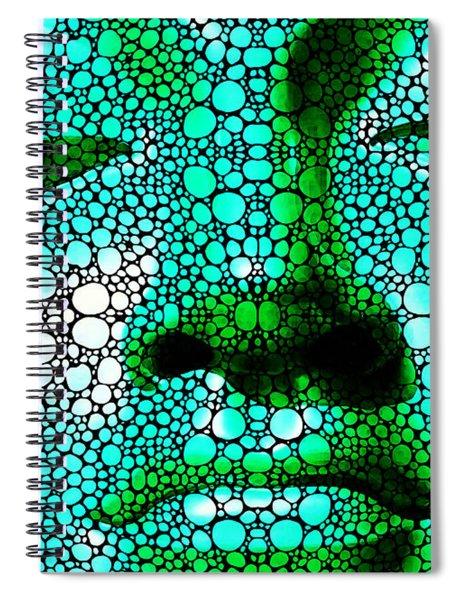 Green Buddha - Stone Rock'd Art By Sharon Cummings Spiral Notebook