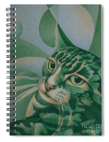 Green Feline Geometry Spiral Notebook
