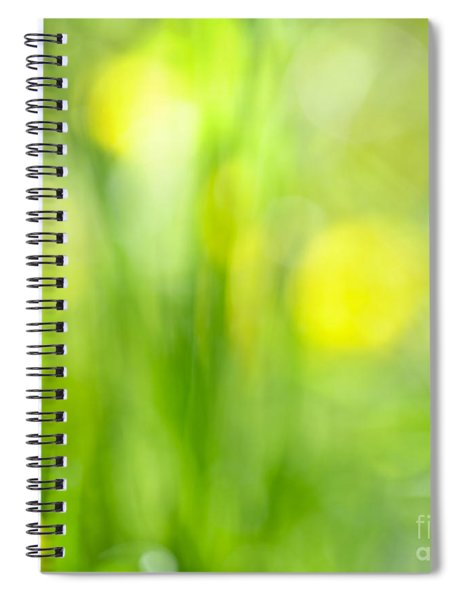 Green Grass With Yellow Flowers Abstract Spiral Notebook