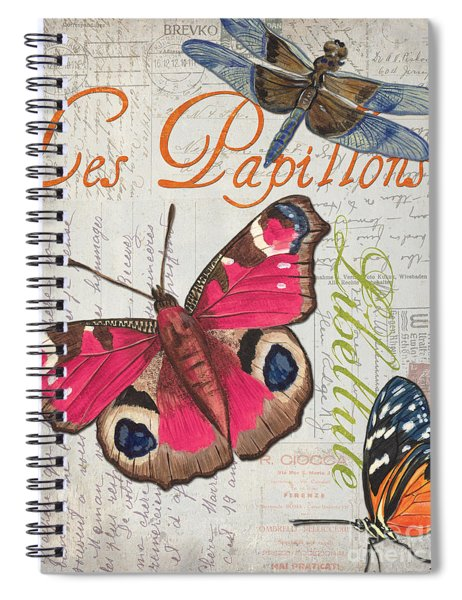 Grey Postcard Butterflies 1 Spiral Notebook
