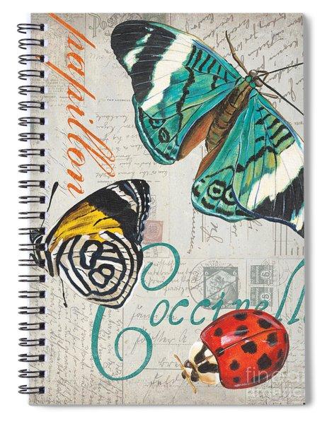 Grey Postcard Butterflies 2 Spiral Notebook