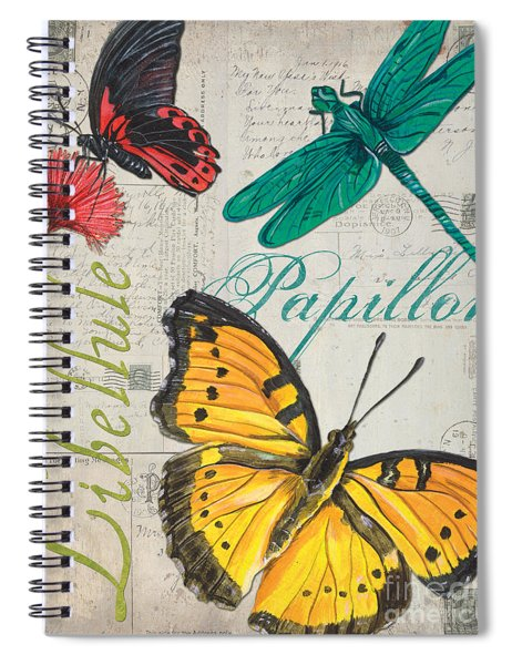 Grey Postcard Butterflies 3 Spiral Notebook