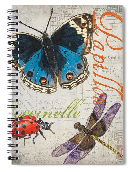 Grey Postcard Butterflies 4 Spiral Notebook