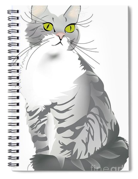 Grey Tiger Cat Spiral Notebook