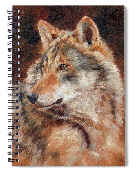 Grey Wolf Portrait Spiral Notebook