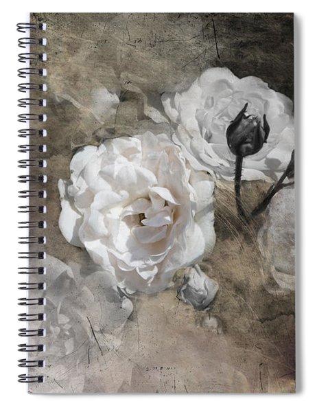 Grunge White Rose Spiral Notebook