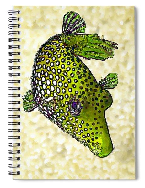 Guinea Fowl Puffer Fish In Green Spiral Notebook