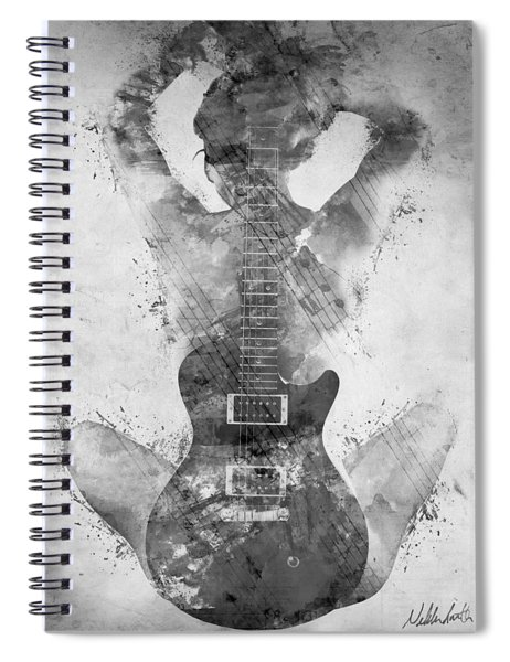 Guitar Siren In Black And White Spiral Notebook by Nikki Smith