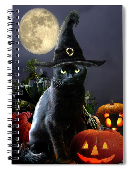 Witchy Black Halloween Cat Spiral Notebook