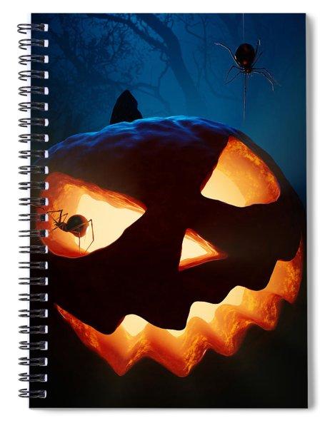 Halloween Pumpkin And Spiders Spiral Notebook