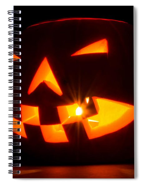 Spiral Notebook featuring the photograph Halloween - Smiling Jack O' Lantern by Scott Lyons