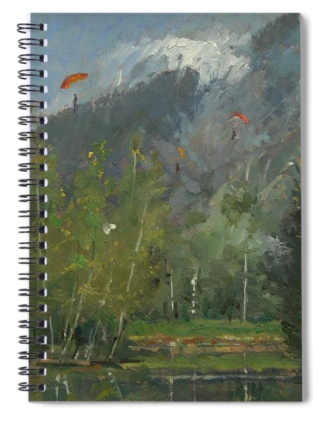 Hang Gliders At Chamonix, 2007 Oil On Canvas Spiral Notebook
