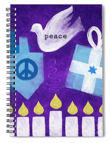 Hanukkah Peace Spiral Notebook by Linda Woods