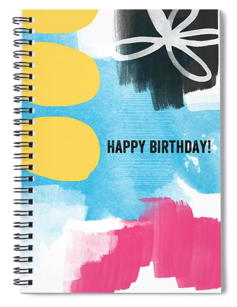 Happy Birthday- Colorful Abstract Greeting Card Spiral Notebook