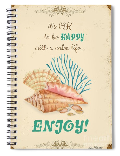 Happy To Be Calm Typography Spiral Notebook