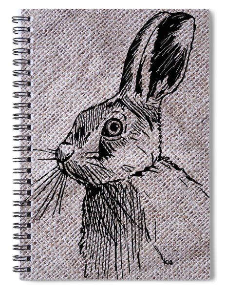 Hare On Burlap Spiral Notebook