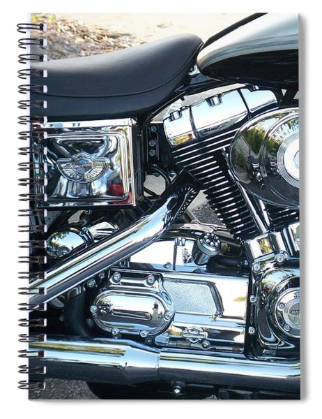 Harley Black And Silver Sideview Spiral Notebook