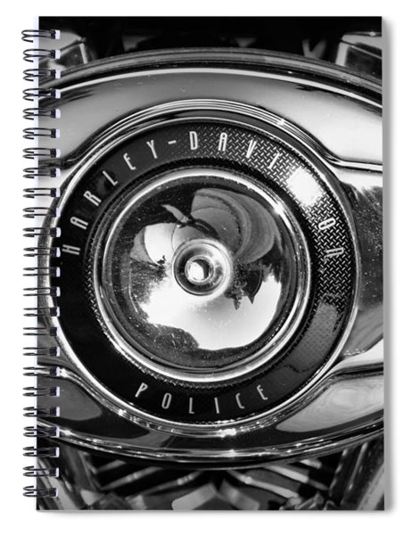 Harley-davidson Police B And W Spiral Notebook