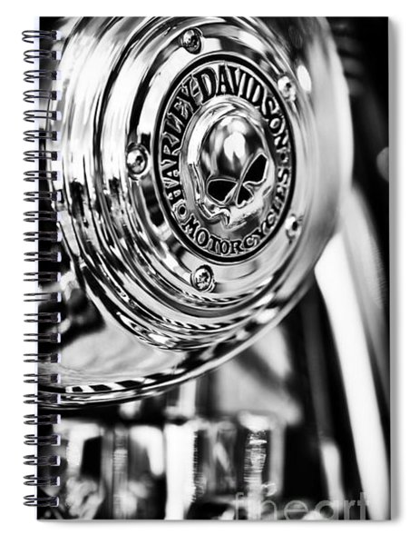 Spiral Notebook featuring the photograph Harley Davidson Skull Casing by Tim Gainey